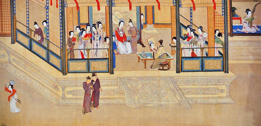 Qiu Ying, Spring Dawn in the Han Palace, detail, 1552, handscroll, color on silk, Chinese painting.