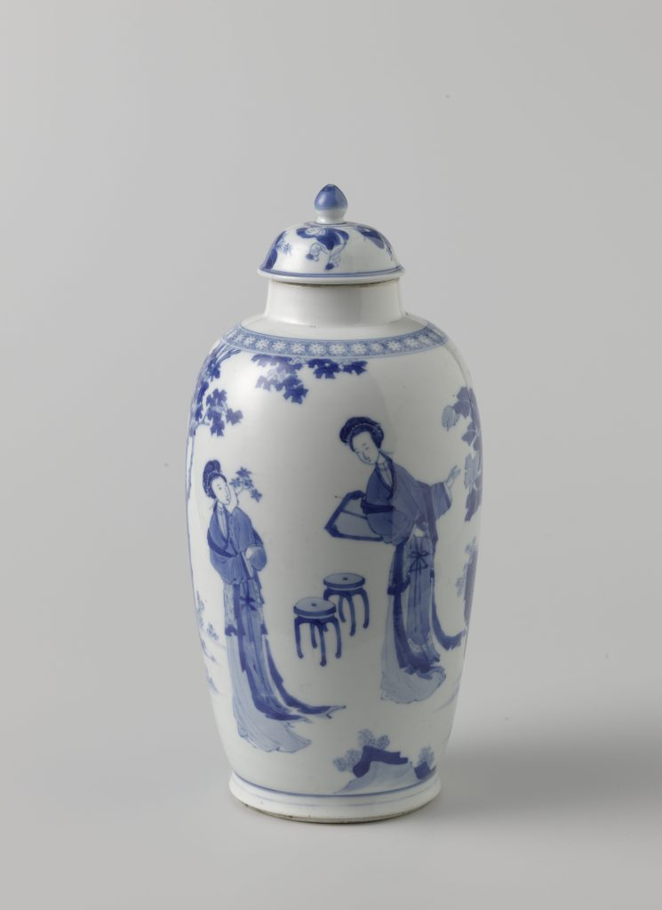 Chinese porcelain, Ovoid covered jar with women in a garden, ca. 1680-1720, Rijksmuseum, Amsterdam, Netherlands.
