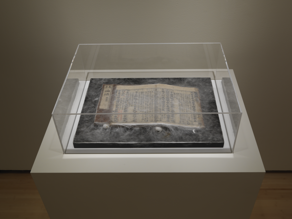 New York City Triennals 2021: Installation view of Xu Bing, Silkworm Book: The Analects of Confucius, 2019, Book, silk. Photograph by Bruce M. White.