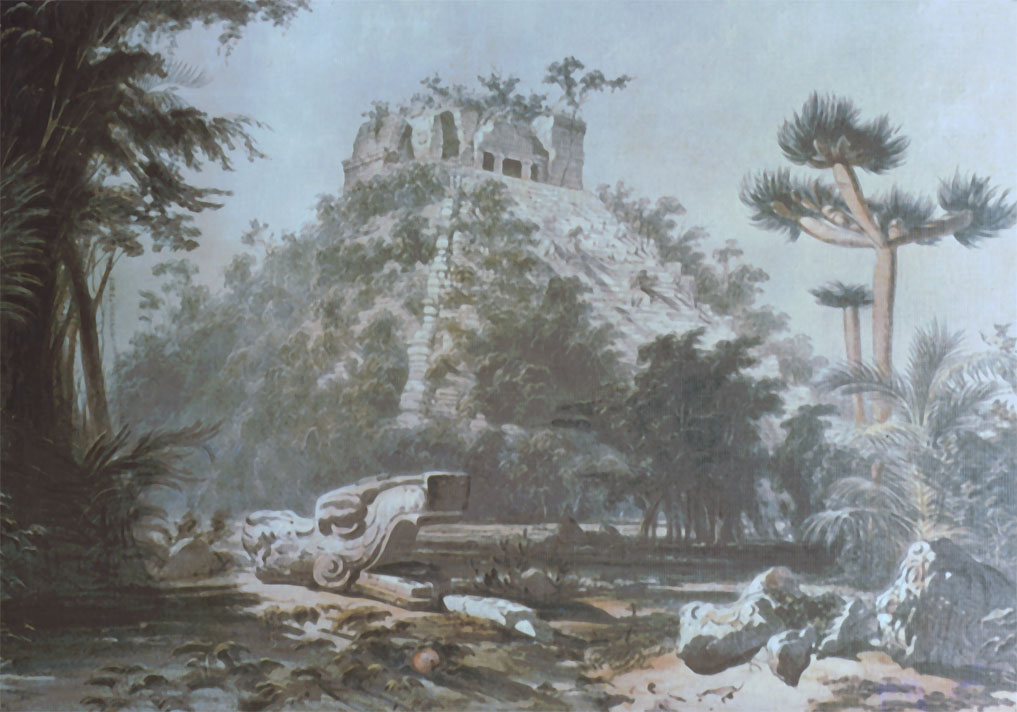 traveling artists mexico. Frederick Catherwood, The Castle, 1841, from Incidents of Travel in Central America, Chiapas and Yucatan.