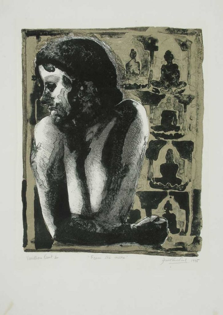 indian Printmakers: Anupam Sud, From the Niche, 1995, lithography on paper, Jehangir Nicholson Art Foundation, Mumbai, India.