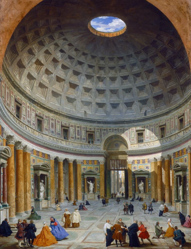 The Grand Tour: Giovanni Paolo Panini, Interior of the Pantheon, Rome, 1734, National Gallery of Art, Washington, DC, USA. Interior of the Pantheon painted by Panini