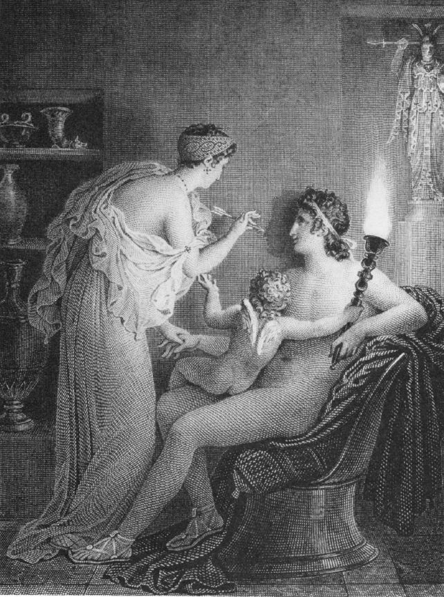 Dibutades. Anne Louis Girodet, The Origin of Drawing, 1829, from Oeuvres posthumes.