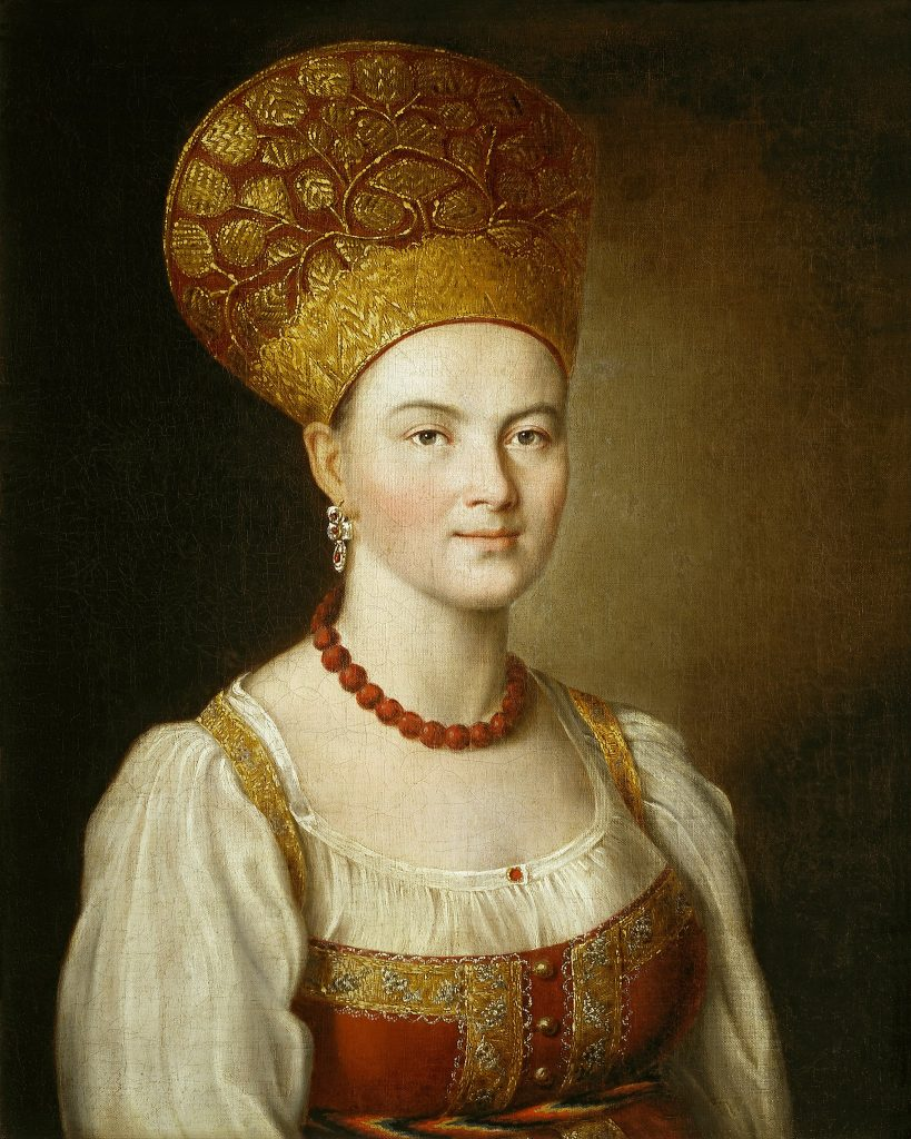 Russian headdress. Ivan Argunov, Portrait of an Unknown Woman in Russian Costume, 1784, Tretyakov Gallery, Moscow, Russia.