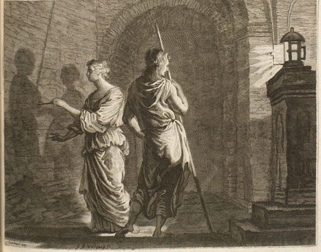 Joachim von Sandrart, Dibutade, 1675, illustration from Teutsche Academie by Joachim von Sandrart.