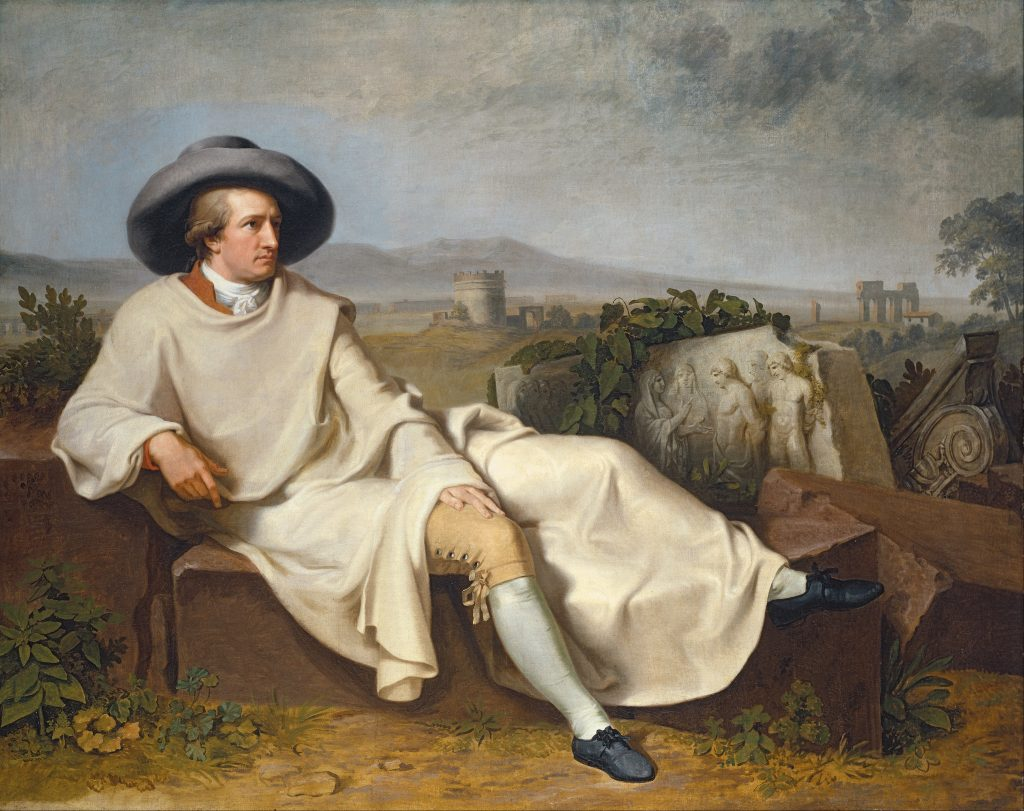 The Grand Tour: Johann Heinrich Wilhelm Tischbein, Goethe in the Roman Campagna, 1787, Städel Museum, Frankfurt, Germany. Goethe painted during The Grand Tour