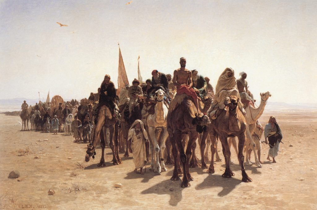Travelling: Leon Belly, Pilgrims Going to Mecca, 1861, Musée d'Orsay, Paris, France.