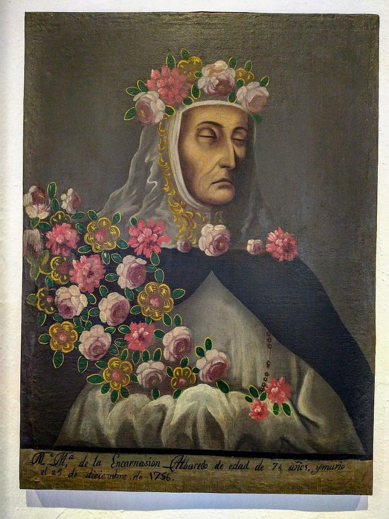 Crowned nun portraits: Crowned Nun Mortuary Portrait of Ma de la Encarnación Albaredo, 1756, Museo de Arte Religioso Ex-Convento de Santa Monica, Puebla, Mexico.