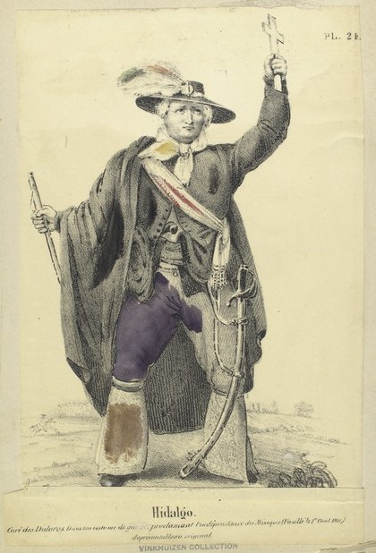 traveling artists mexico. Claudio Linati, Miguel Hidalgo, 1827, from series Mexican Civilian, Military and Religious Costumes.