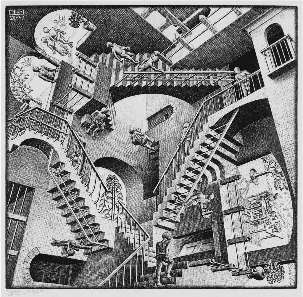 Beautiful Horrors: Art in the Chilling Adventures of Sabrina: M.C. Escher, Relativity, 1953. Courtesy of the M.C. Escher Company.