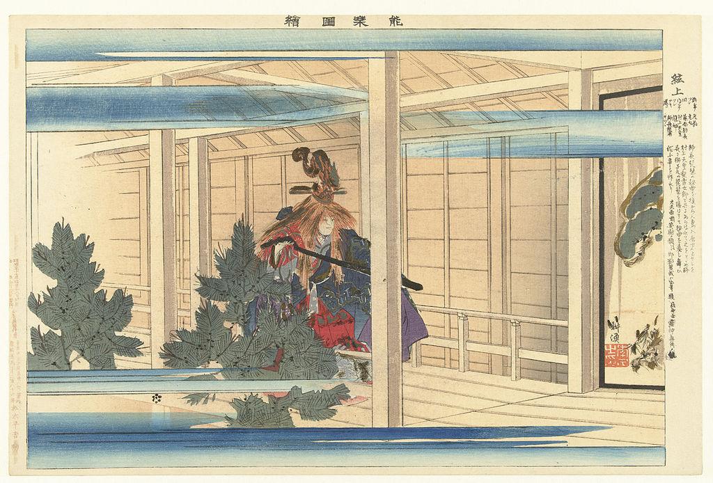 Shadows in Japanese Culture: Tsukioka Kôgyo (1869 - 1927), Woodblock depicting Nō actor, 1904, Rijksmuseum.