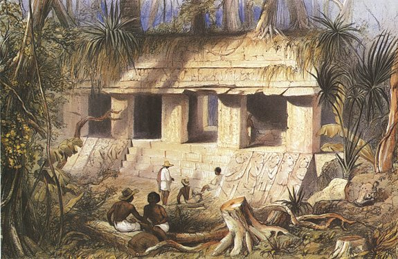 traveling artists mexico.  Frederick Catherwood, Principal Court of the Palace at Palenque, 1844, from Incidents of Travel in Central America, Chiapas and Yucatan.