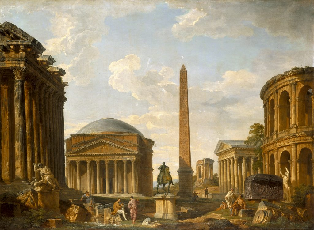 The Grand Tour: Giovanni Paolo Panini, Roman Capriccio: The Pantheon and Other Monuments, 1735, Indianapolis Museum of Art, Indianapolis, IN, USA. Panini's oil painting depicting monuments in Rome