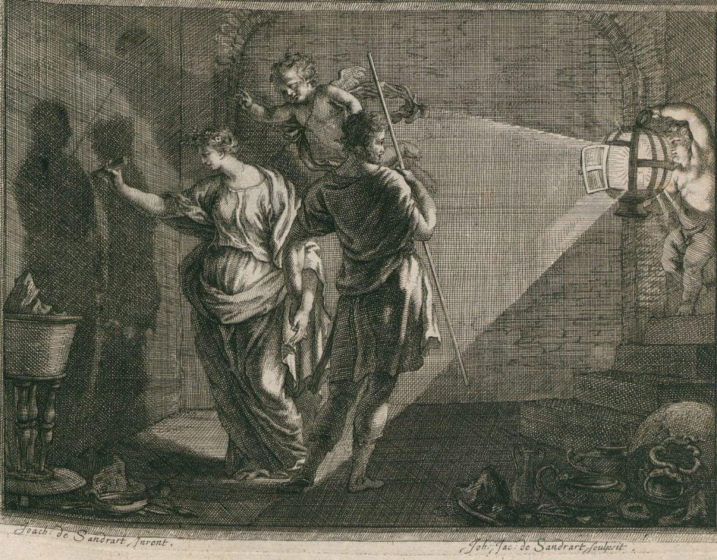 Joachim von Sandrart, Dibutade, 1683, illustration from Teutsche Academie by Joachim von Sandrart.
