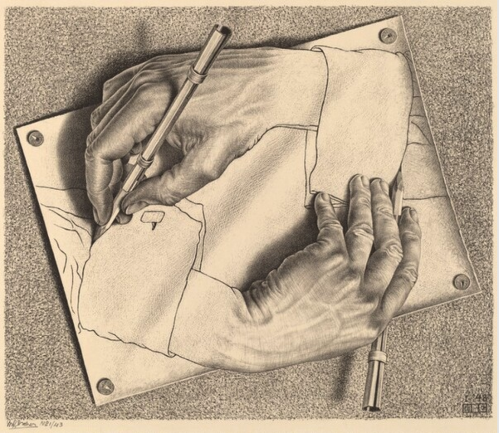 Beautiful Horrors: Art in the Chilling Adventures of Sabrina: M.C. Escher, Drawing Hands, 1948, National Gallery of Art, Washington, DC, USA.