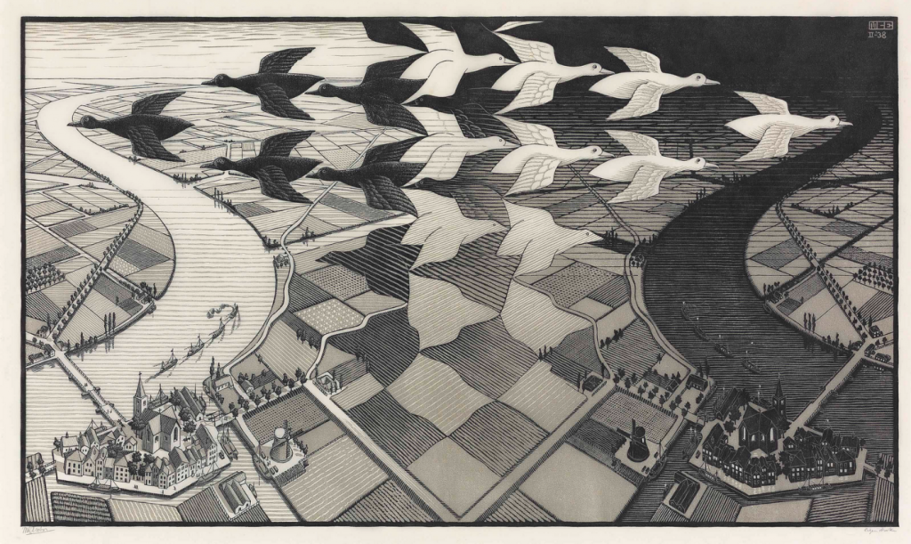 Beautiful Horrors: Art in the Chilling Adventures of Sabrina: M.C. Escher, Day and Night, 1938, National Gallery of Art, Washington, DC, USA.
