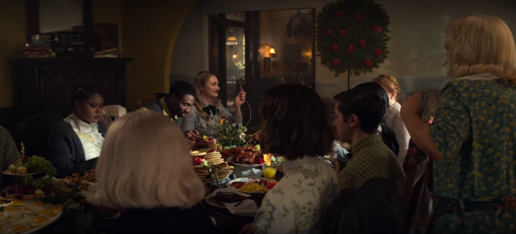 Beautiful Horrors: Art in the Chilling Adventures of Sabrina: Hilda's English breakfast in the Spellman Morturary, Season 3, Episode 1, The Chilling Adventures of Sabrina, 2019. Courtesy of Netflix.