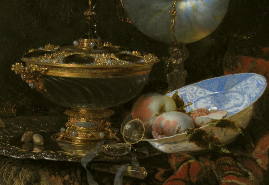 Willem Kalf, Pronkstilleven, 1678, Statens Museum for Kunst, Copenhagen, Denmark. Detail. Chinese porcelain.