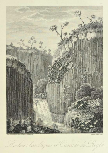 Alexander von Humboldt, Basalt prisms at San Miguel Regla, 1810, from series Views of the Cordilleras and monuments of the indigenous peoples of America. traveling artists mexico.