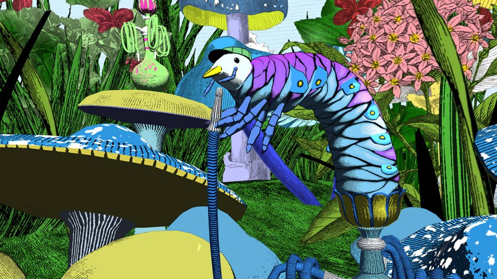 Still from 'Curious Alice', a VR experience created by the V&A and HTC Vive Arts. Featuring original artwork by Kristjana S Williams, 2020, source V&A Museum. Exhibitions Summer 2021