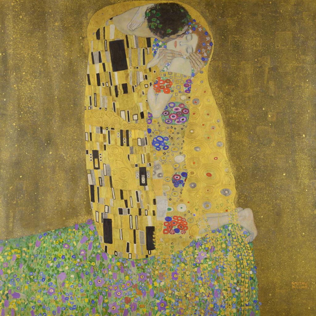 Four Masterpieces by Gustav Klimt: Gustav Klimt, The Kiss, 1907-1908, Belvedere, Vienna, Austria.