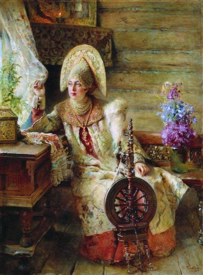 Russian headdress. Konstantin Makovsky, Boyar woman by the window, 1885, Private collection.