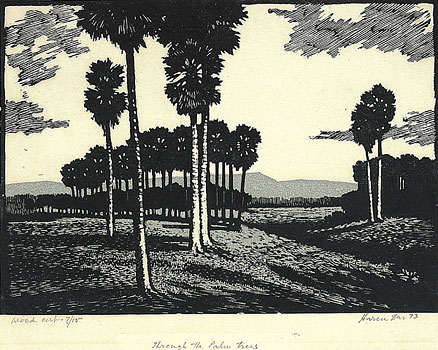 Indian Printmakers: Haren Das, Through the Palm Trees, 1973, woodcut on paper
