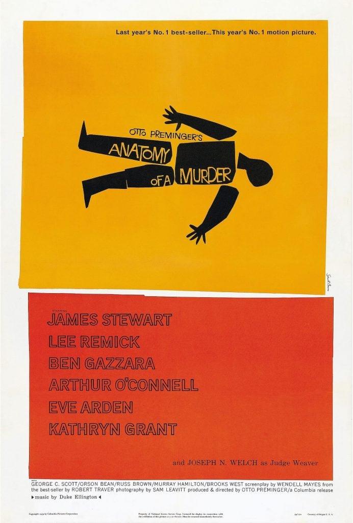 Saul Bass, Anatomy of a Murder, poster, 1959