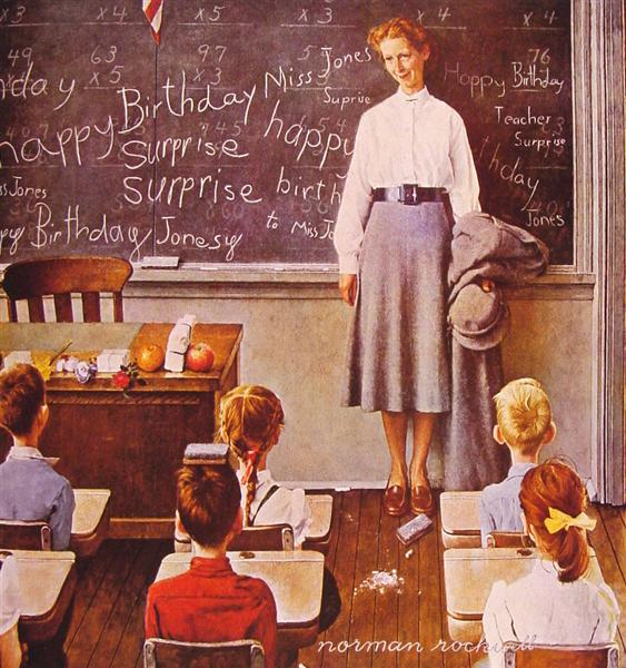 Norman Rockwell, Teacher's Birthday Party, 1956, private collection. The Saturday Evening Post. birthday parties art
