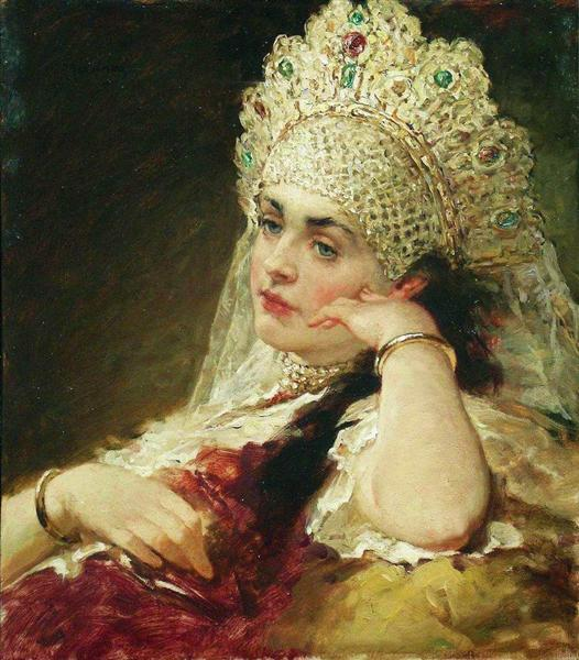 Russian headdress. Konstantin Makovsky, Girl with the Pearl Necklace, 1880-1890, Private collection.