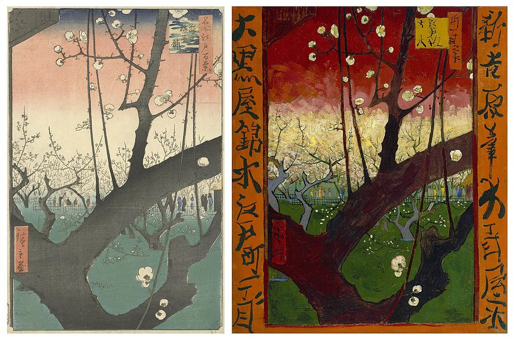 Japonisme. Left: Utagawa Hiroshige, 1857, The Residence with Plum Trees at Kameido, Van Gogh Museum, Amsterdam, The Netherlands; right: Vincent van Gogh, 1887, Flowering plum tree (after Hiroshige), Van Gogh Museum, Amsterdam, The Netherlands.
