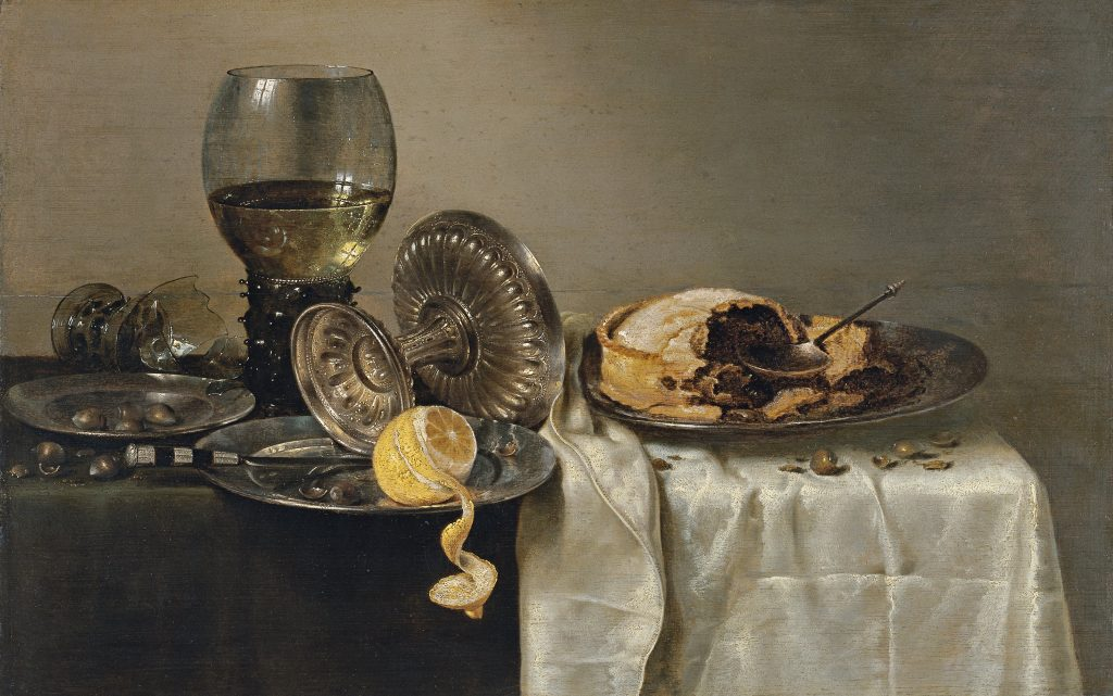 Willem Claesz. Heda, Still Life with Fruit Pie and various Objects, 1634, Thyssen-Bornemisza Museum, Madrid, Spain