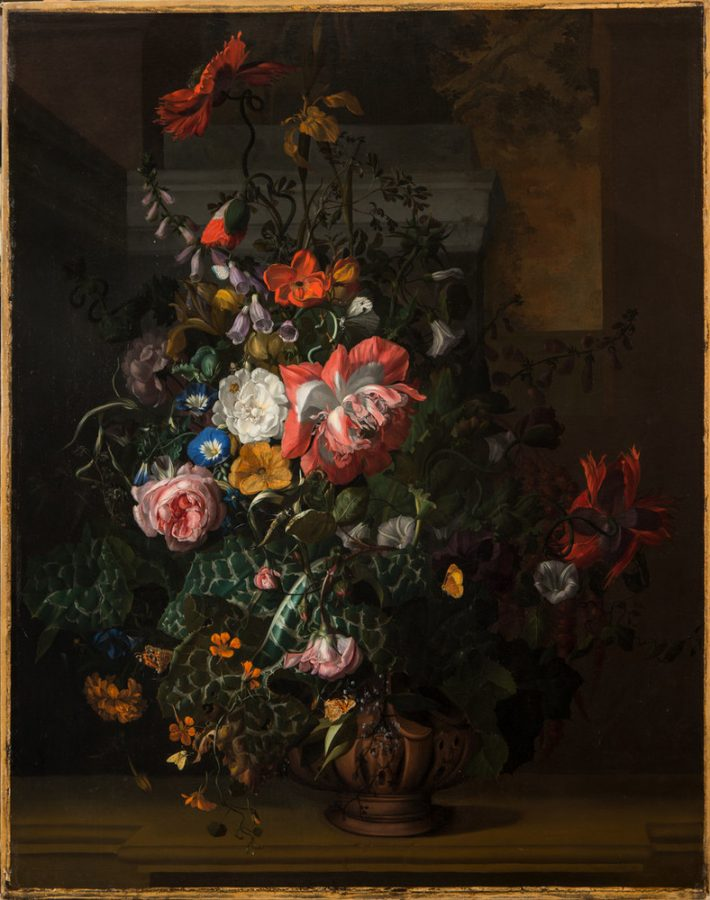 Rachel Ruysch, Roses, Convolvulus, Poppies and Other Flowers in an Urn on a Stone Ledge, ca. 1680, National Museum of Women in the Arts,