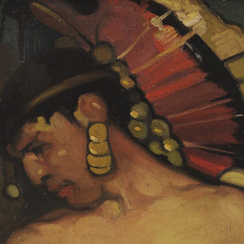 Saturnino Herrán, Our Ancient Gods, 1916, Museo Colección Blaisten, Mexico City, Mexico. Detail of Gold Earring.