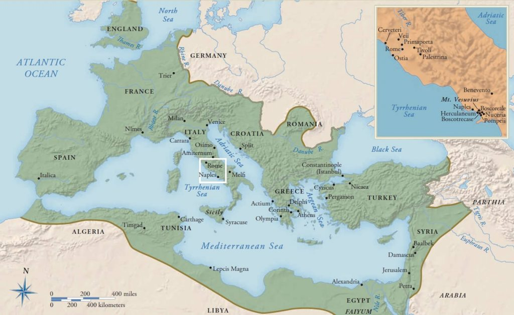 Map of the Roman Empire at the death of Emperor Trajan in 117 CE. Gardner's Art Through the Ages.
