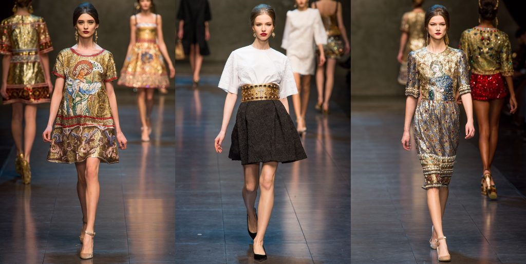 three looks inspired by Byzantine art from Daolce&Gabbana fashion show: left: golden A-line dress with angel centre: black lace skirt paired with white blouse and golden belt with cabochons left: golden, embroidered dress with mosaic decoration