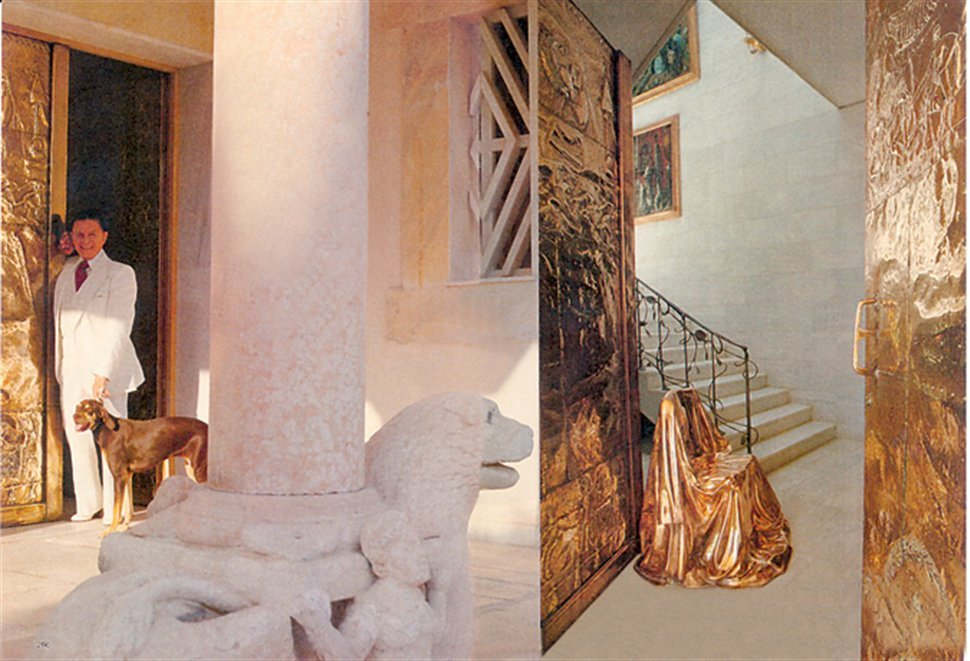 Iolas in his house with his dog, Frini. Next, a view of the staircase.