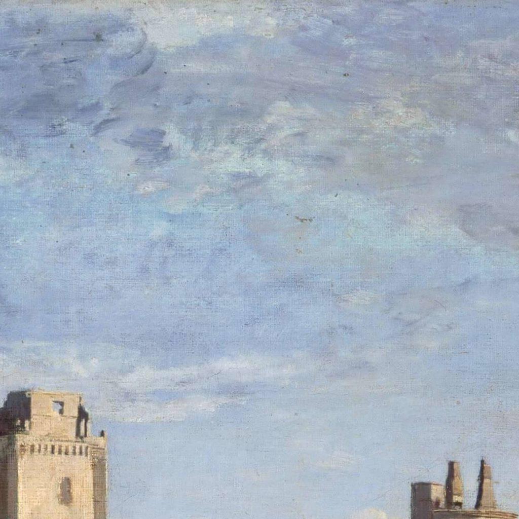 Jean-Baptiste-Camille Corot, Ruins of the Château de Pierrefonds, ca 1840-45, Cincinnati Art Museum, USA. Detail of Sky.