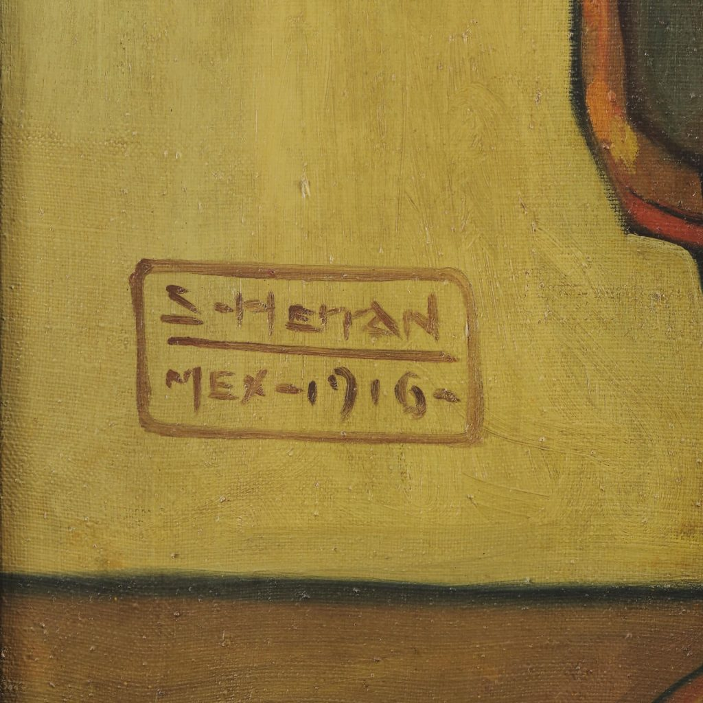 Saturnino Herrán, Our Ancient Gods, 1916, Museo Colección Blaisten, Mexico City, Mexico. Detail of Signature and Year.