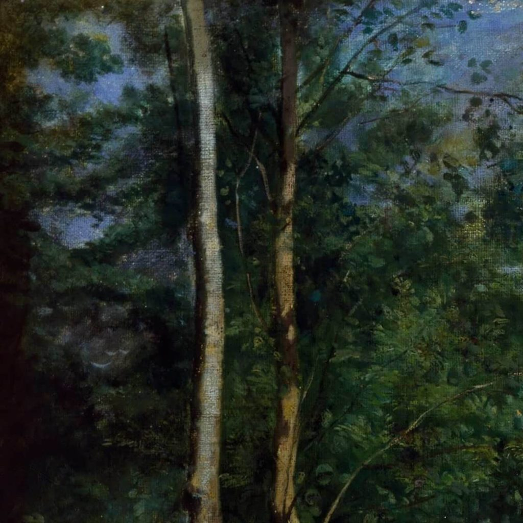 Jean-Baptiste-Camille Corot, Ruins of the Château de Pierrefonds, ca 1840-45, Cincinnati Art Museum, USA. Detail of Trees.
