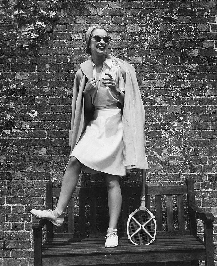 Lee Miller, A model wearing a tennis outfit, 1950. Fashion Photographers