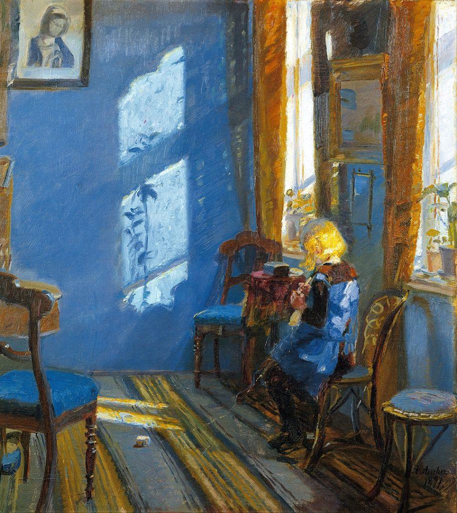 sunshine paintings: Anna Ancher, Sunlight in the Blue Room, 1891, Skagens Museum, Skagen, Denmark.
