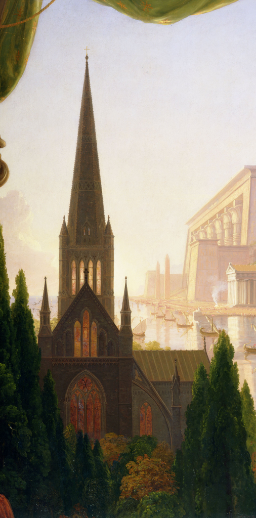 Thomas Cole, The Architect's Dream, 1840, Toledo Museum of Art, Toledo, OH, USA.Cathedral Detail