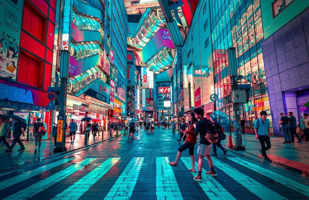 Downtown Tokyo, Japan, present-day, Olympics