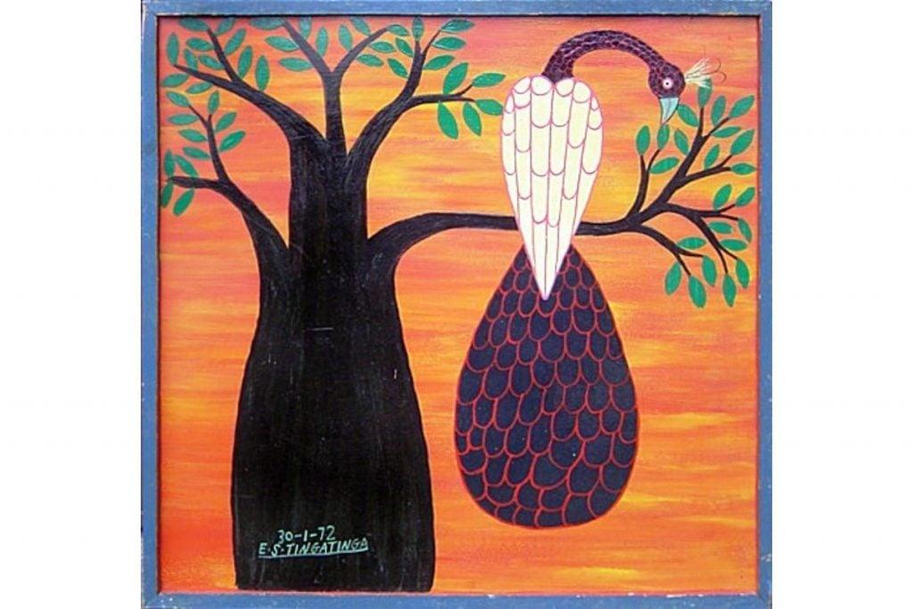 Edward Tingatinga, Peacock, 1972,