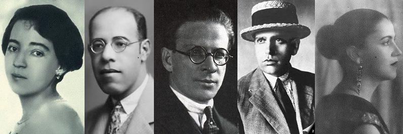 Modernism in Brazil:  Group of Five. Anita Malfatti, Mário de Andrade, Menotti del Picchia, Oswald de Andrade, and Tarsila do Amaral.