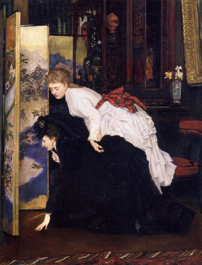 Japonisme. James Tissot, Young Women Looking at Japanese Objects, 1869, Private collection.