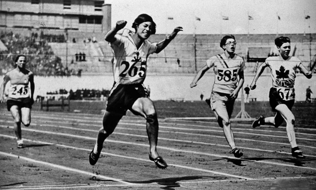 Kinue Hitomi in the 100-meter heat at the Amsterdam Olympics, 1928, Olympics