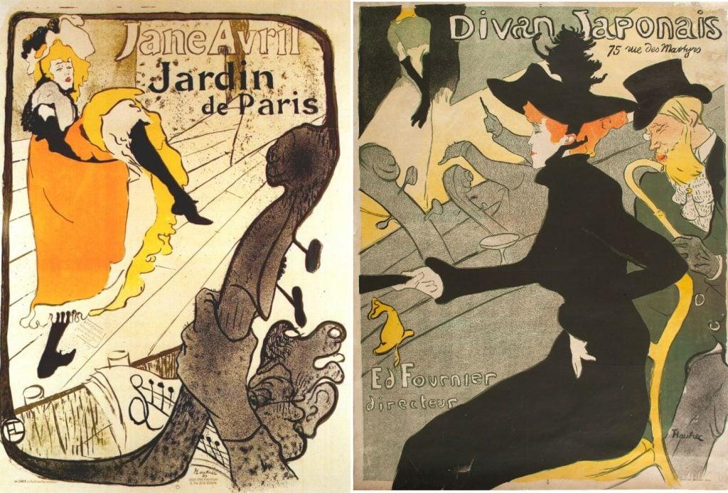 Japonisme: Left: Henri Toulouse-Lautrec, 1893, Jane Avril at the Jardin de Paris. Right: Henri Toulouse-Lautrec, 1895, Divan japonais, Museo Nacional de Bellas Artes, Buenos Aires, Argentina.