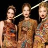 Three models wearing Dolce&Gabbana Fall 2013 fashion collection inspired by Byzantine Art